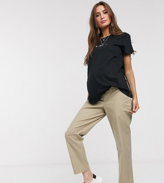 ASOS DESIGN Maternity straight leg pants in comfort stretch stone slubby cotton