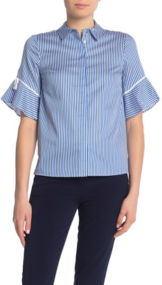 Draper James Striped Bell Sleeve Button Down Blouse