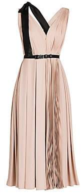 Prada Women's Ribbon Detail Pleated V-Neck Midi Dress