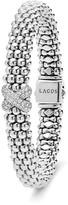 Lagos Sterling Silver Caviar Diamond X Rope Bracelet