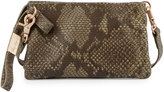 Foley + Corinna Cerberus Cache Snake-Embossed Leather Crossbody Bag, Safari Snake