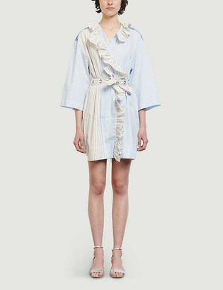 Sandro Shely patchwork wrap cotton mini dress
