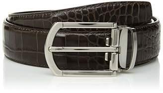 Bugatchi Men's Cocodrile Effect Leather Belt
