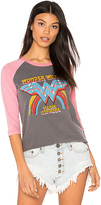 Junk Food Clothing Wonder Woman Raglan Tee in Charcoal. - size S (also in XS)