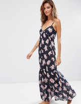 Asos Orchid Tropical Tiered Maxi Beach Dress