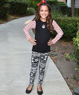 Beary Basics Red & White Stripe Snowman Top & Leggings - Toddler & Girls