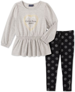 Calvin Klein Jeans Baby Girls 2-Pc. Peplum Tunic & Printed Leggings Set