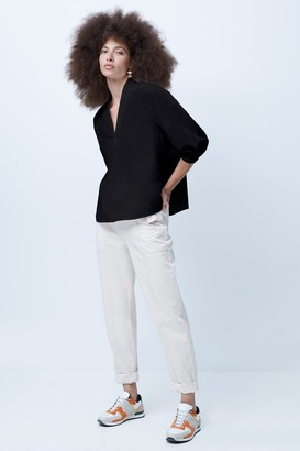 French Connenction Posey Poplin Popover Blouse