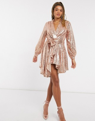 Forever U embellished mini blazer dress in rose gold