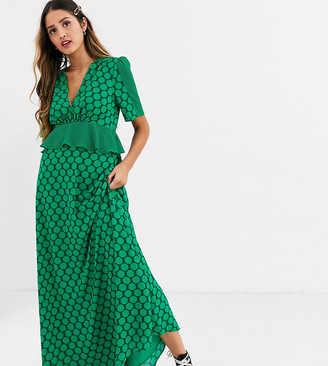 Twisted Wunder frill waist detail maxi dress in contrast green spot print
