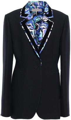 Emilio Pucci Printed Twill-trimmed Wool And Silk-blend Blazer