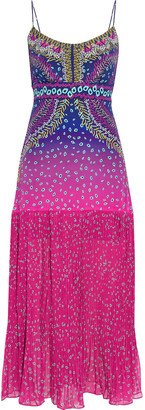 Saloni Veronica Pleated Printed Silk Crepe De Chine Midi Slip Dress