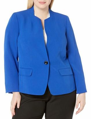 Kasper Women's Petite Stretch Crepe 1 Button Stand Collar Jacket