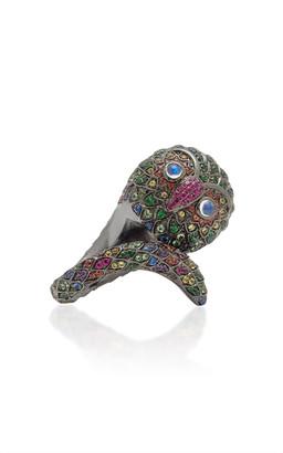 LYNN BAN Black Rhodium-Plated Silver And Multi-Stone Ring