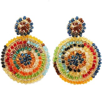 Multicolored Hand Made Crochet Gold Mandala Earrings