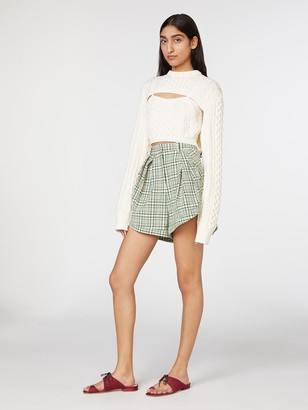 Rosie Assoulin Layered Knit Ribbed Crop Top