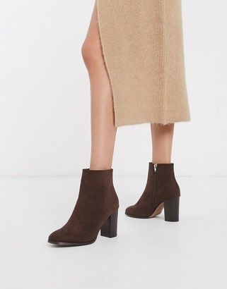 ASOS DESIGN Rye heeled ankle boots in brown