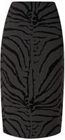 Carven Zebra-Print Wool-Blend Pencil Skirt