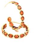 Tresor Collection - Orange Sapphire Hoop Earrings in 18K Yellow Gold