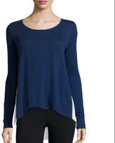 A.N.A a.n.a Long-Sleeve Woven-Back T-Shirt