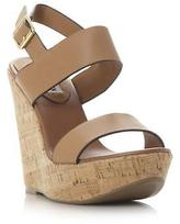 Steve Madden Ladies ESME SM Two Part Cork Wedge Sandal in Tan Size UK 8