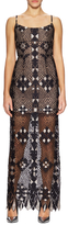 BCBGMAXAZRIA Embroidered Mesh Maxi Dress
