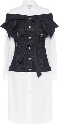 Junya Watanabe Cotton poplin and denim shirt dress