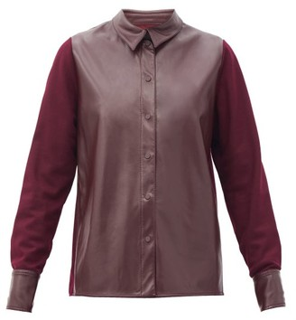 Roksanda Paden Faux-leather And Jersey Shirt - Burgundy