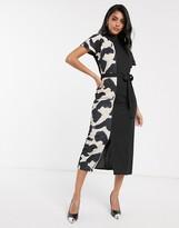 Asos Design DESIGN high neck midi dress with animal print side panel
