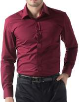 PAUL JONES Men's Casual Long Sleeve Casual Shirt Size (XL, Navy Blue)