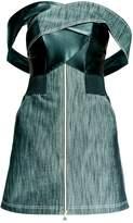 Leka Leather & Denim Off The Shoulder Dress