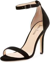 Neiman Marcus Beckah Velvet Ankle-Wrap Sandal, Black