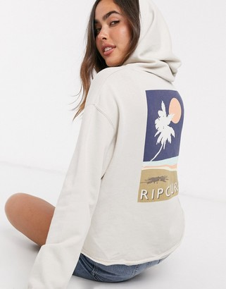 Rip Curl Sunsetters back logo placement hoodie in stone