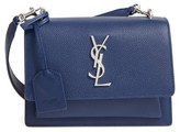 Saint Laurent 'Small Monogram Sunset' Leather Shoulder Bag - Blue