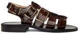 Dries Van Noten Black and Brown Patent Sandals
