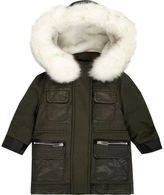River Island Mini girls khaki faux fur hooded parka