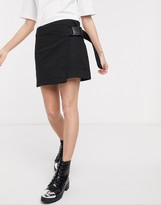 Thumbnail for your product : Weekday wrap clip-belt mini skirt in black