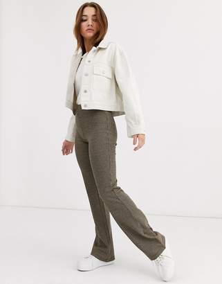JDY check flared jersey pants-Multi