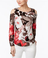 INC International Concepts Petite Floral-Print Cold-Shoulder Top, Only at Macy's
