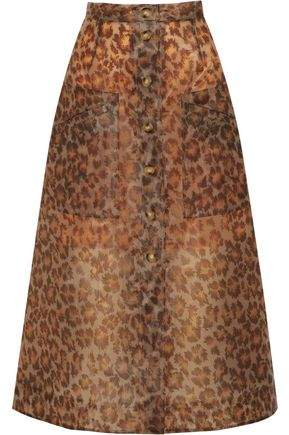 Christopher Kane Leopard-Print Rubberized Midi Skirt