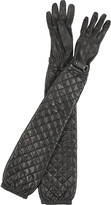 Long quilted leather gloves