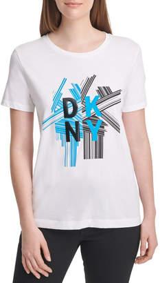 DKNY Split Geo Stacked Logo Tee