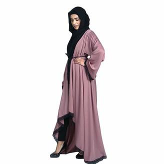 iHAZA Dubai Style Women Open Front Kaftan Abaya Muslim Cardigan Jilbab Lace Gown Dress Robe Turkish Multicolor