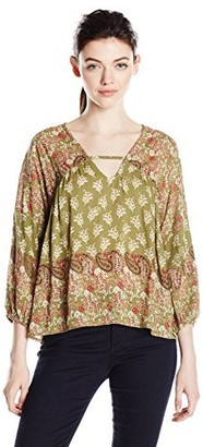 Angie Women's V Neck Poet Sleeve Blouse with Silver Printing