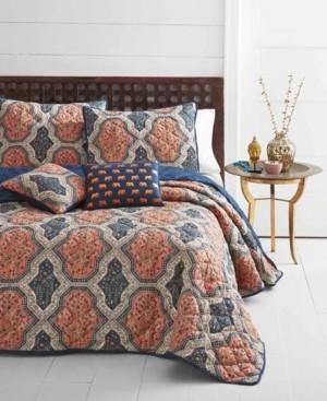 Vera Wang Azalea Skye Rhea Orange Quilt Set, Full/Queen Bedding