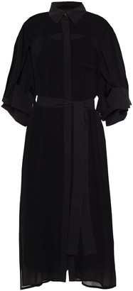 DKNY Belted Georgette Midi Shirt Dress