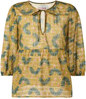 Kristina Ti Cropped Sleeve Print Blouse