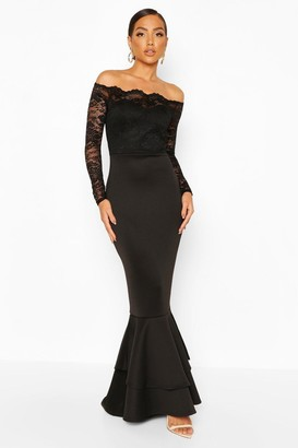boohoo Lace Bardot Frill Fishtail Maxi Dress