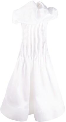 Nina Ricci Oversized Collar Pleated Dress