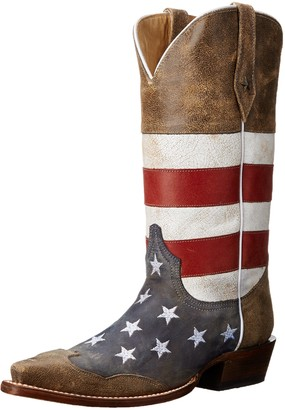 Roper Men's American Flag Snip Toe Brown Boot 11 D - Medium